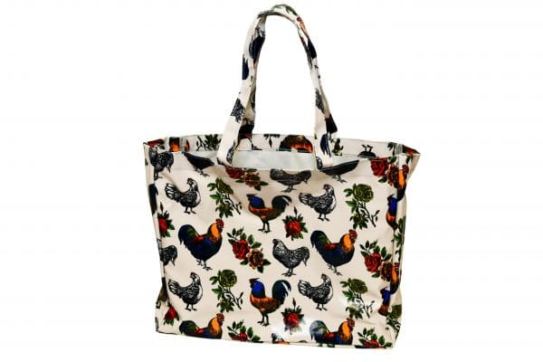 roosters and roses tote bag